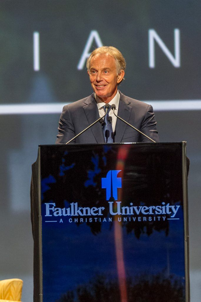 The Rt. Hon. Tony Blair speaks to a sold-out crowd at Faulkner University's Annual Benefit Dinner on Oct. 4 at the Renaissance Hotel and Convention Center in downtown Montgomery.