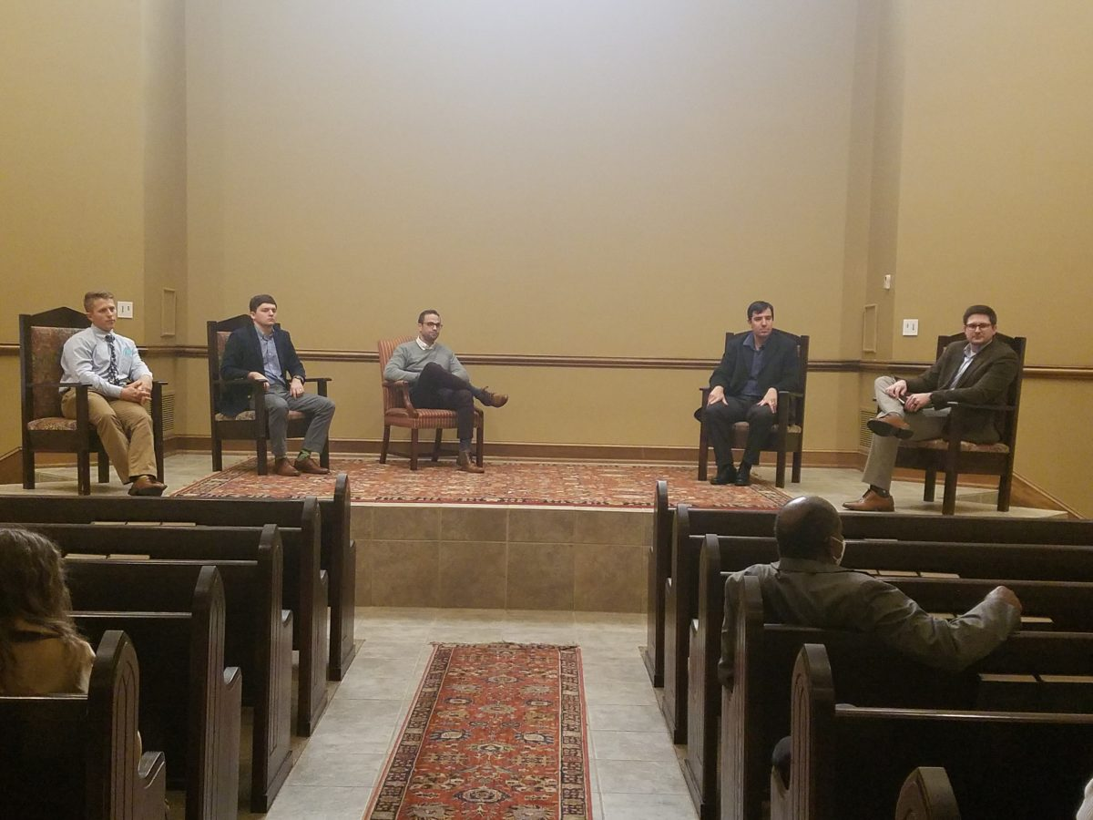 l-r- Devin Morris, Jared Kelly, Andrew Itson, Caleb Cochran and Andrew Kingsley participate in the 2021 Marketplace Faith Friday Forums. Jared Kelly is serving as a youth and family minister.