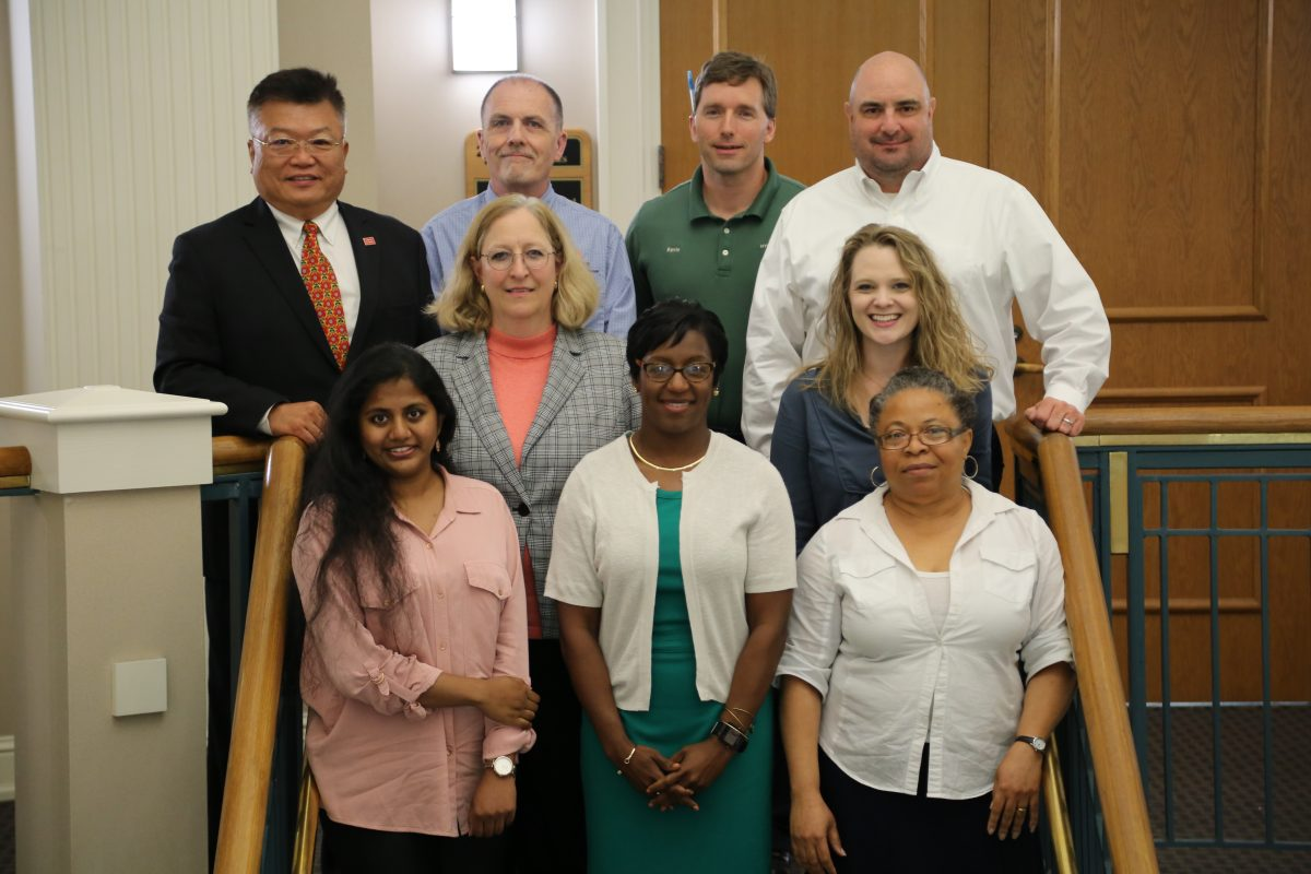 (l-r, top to bottom, Dr. Yu-Tueng (Y.T.) Tsai, David A. Umphress, Kevin Poliquin, Kevin D. Vezertizis, Susan Hammond, Faulkner Computer Science Chair, Andrea Long, Shirley Yera, computer science instructor, Charisse Stokes, Idongesit Mkpong-Ruffin, computer science professor.)