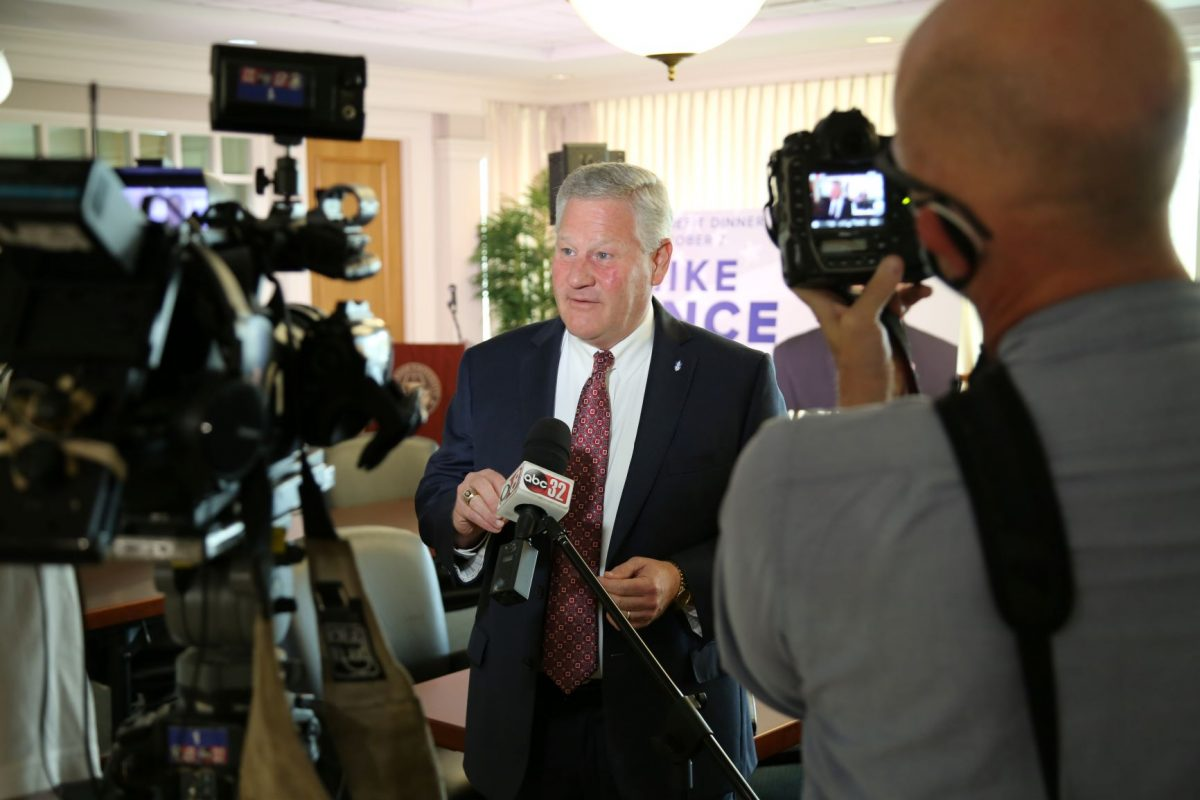 Faulkner President Mike Williams talks to media after he announces former Vice President Mike Pence as this year's Benefit Dinner speaker. The dinner will be held on Oct. 7.