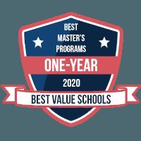 Best Master's Programs One-Year 2020 Best Value Schools badge.