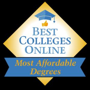 Best Colleges Online Most Affordagle Degrees badge.