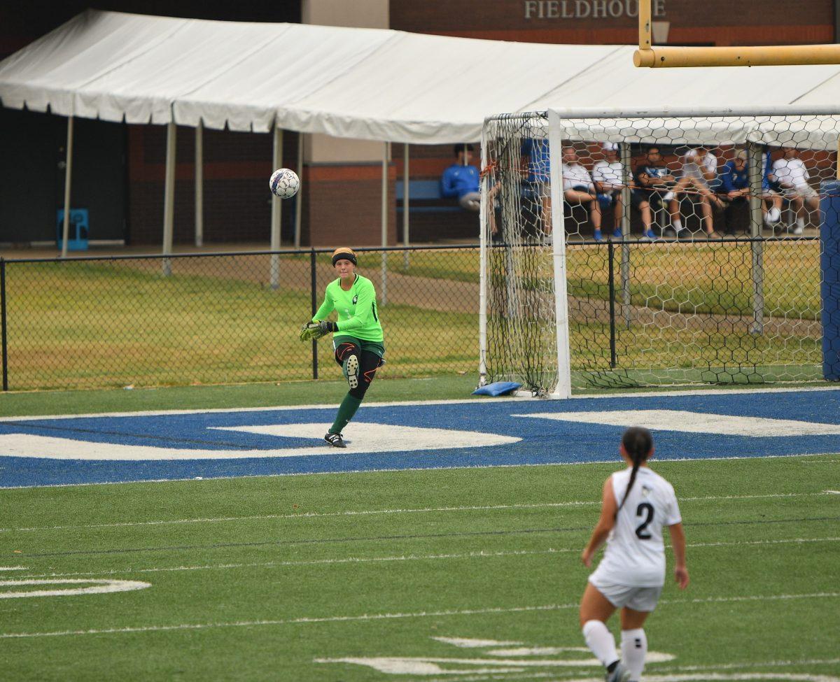 Megan White plays goalkeeper for the Faulkner Women's Soccer team.