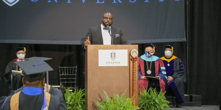 Sheriff Alfonzo Williams encourages graduates to live a life of service during his commencement speech on May 1, 2021.