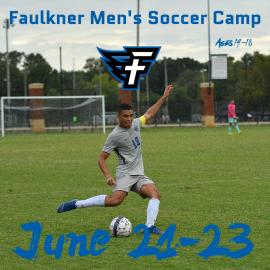 Faulkner Men's soccer player kicking a ball on the field. June 21-23 Men's Soccer Camp