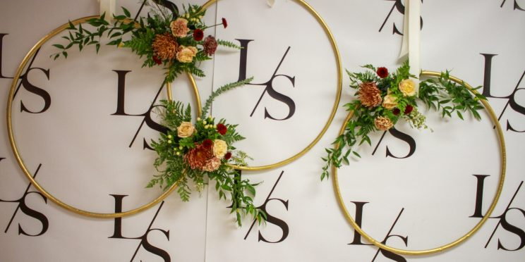 Three Golden Hoops with Flower Arrangements