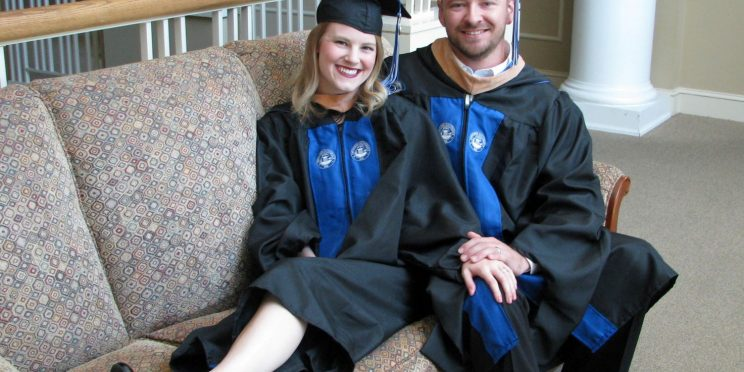 Devon Duffield sits with her husband Sam Duffield.