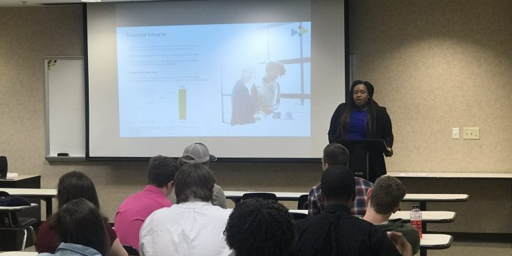 Jessica Goosby talks to students during the 2020 Marketplace Faith Friday Forums.