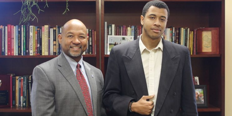 Jacob Hartsfield, right, stands with Dr. Jean-Noel Thompson
