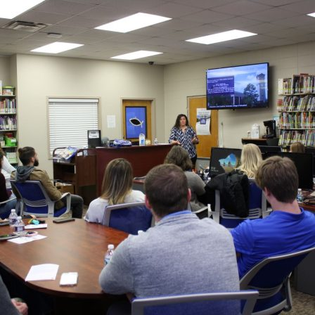 Jennifer Ellisor speaks to students during the 2020 Marketplace Faith Friday Forums.