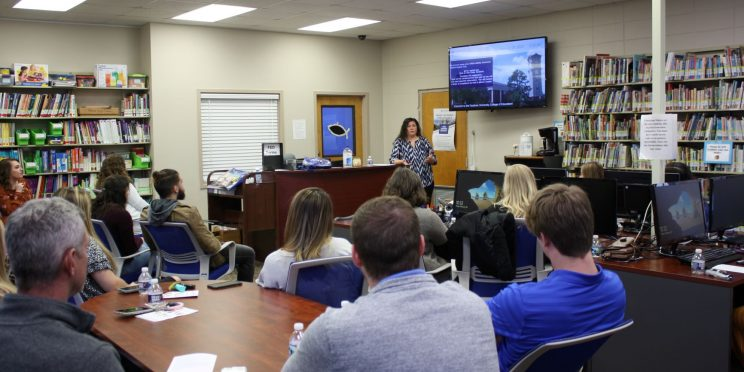 Jennifer Ellisor speaks to students during the 2020 Marketplace Faith Friday Forums.