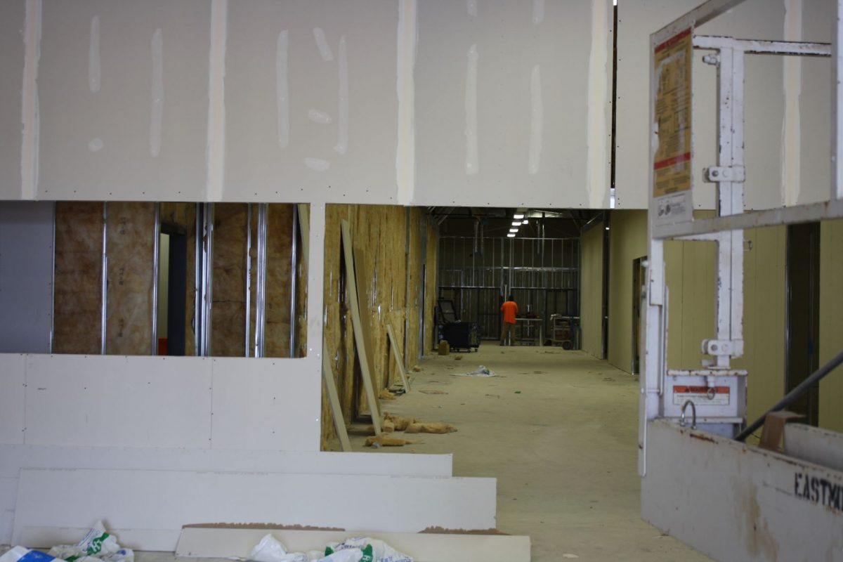 Renovations are underway for the College of Health Science's front entryway and main hall including metal framing and drywall.