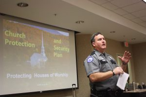Faulkner Police Department Police Chief Everette Johnson gives introductory remarks during Faulkner University's Church Protection and Security Plan seminar on Friday, February 2, 2018.