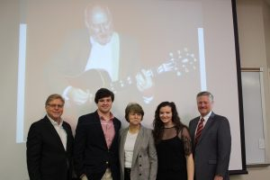The family of Mark Churchwell were present when David Johnson, dean of the Harris College of Business announced the new Mark Churchwell Entrepreneurship award.