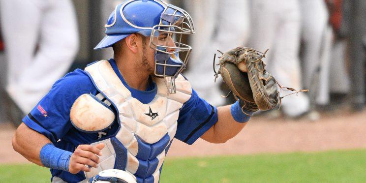 Jonathan Villa makes a catch for the Faulkner Eagles baseball team.