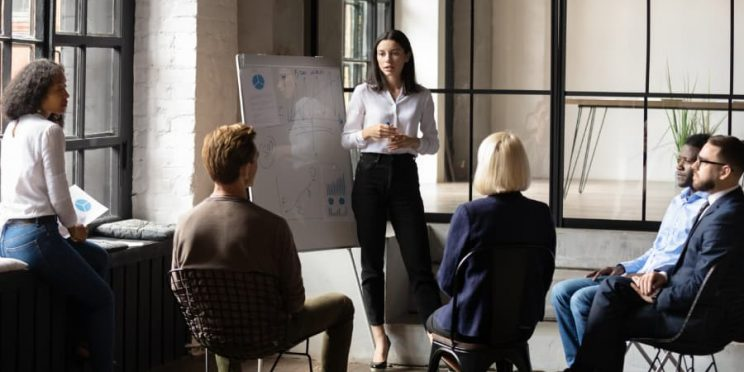 Business leader giving presentation