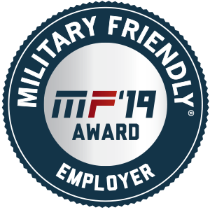 Badge - Victory Media Awards Faulkner with the Military Friendly School Award for 2018 and 2019