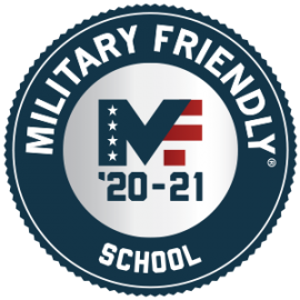 Badge commemorating Faulkner University is a Military Friendly 2020-2021 School.