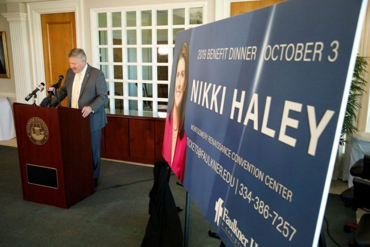 Faulkner University President Mike Williams announces Nikki Haley as this year's annual Benefit Dinner speaker on Tuesday on the Montgomery campus