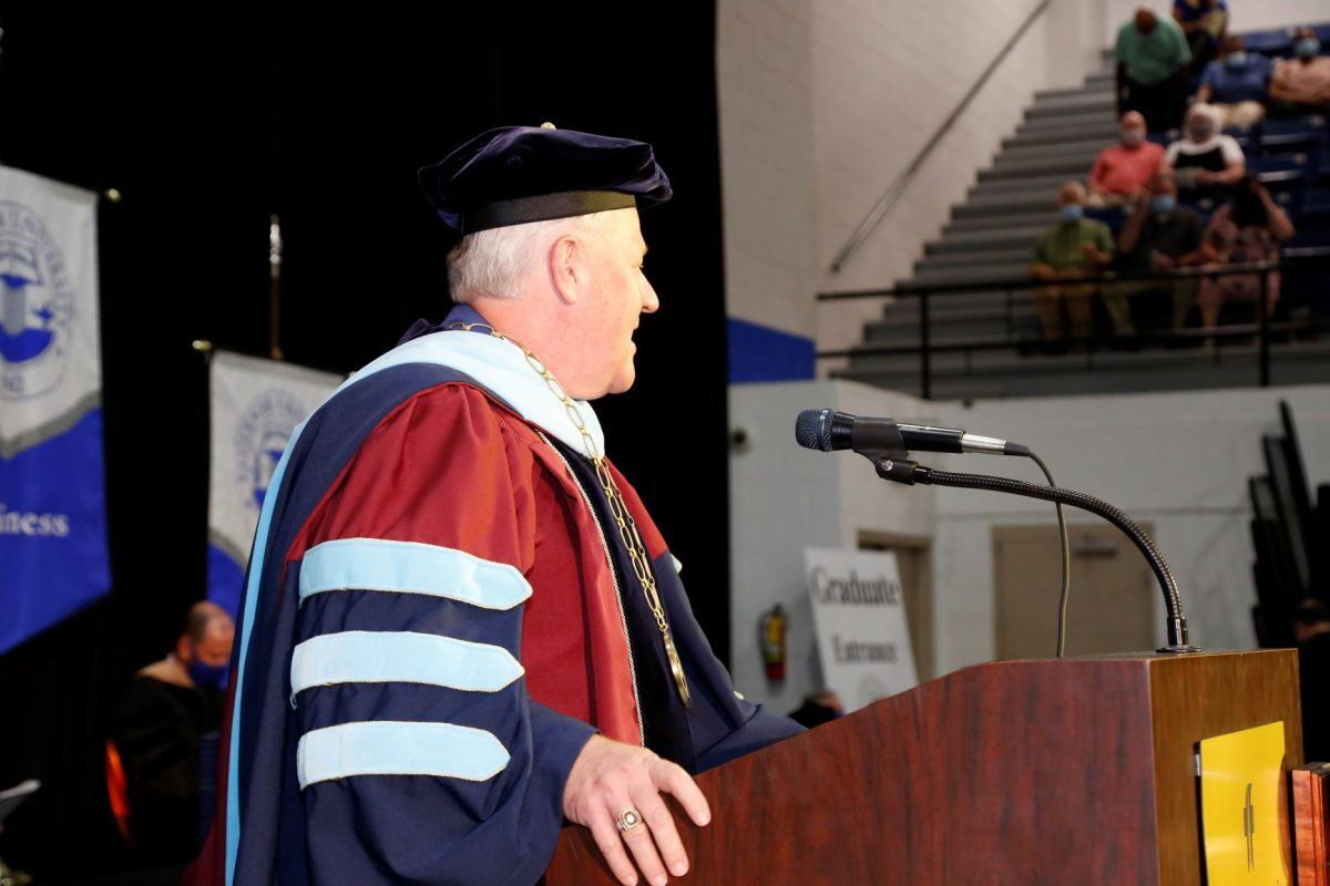 Faulkner President Mike Williams addresses the crowd during the 2020 Spring commencement ceremony on Auugust 8.
