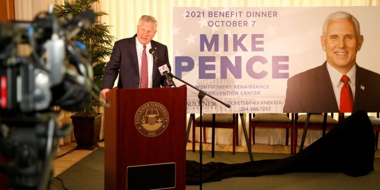 Faulkner President Mike Williams announces former Vice President Mike Pence as this year's Benefit Dinner speaker. The dinner will be held on Oct. 7.