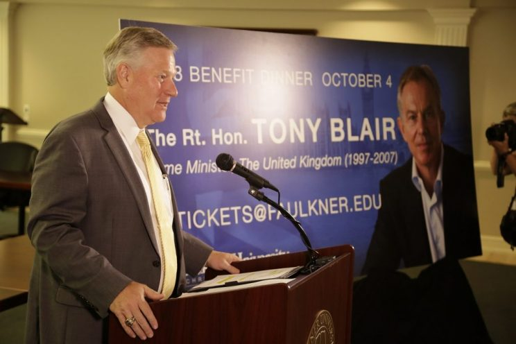 Faulkner President Mike Williams announces Tony Blair as this year's annual Benefit Dinner speaker at a press conference on campus Monday.