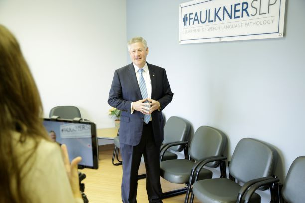 Faulkner President Mike Williams announces the official opening of the Speech and Language Pathology Clinic.