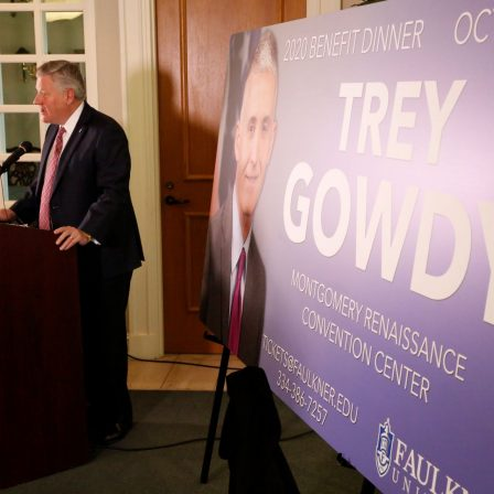 Faulkner University President Mike Williams announces Congressman Trey Gowdy as this year's annual Benefit Dinner speaker on Tuesday on the Montgomery campus