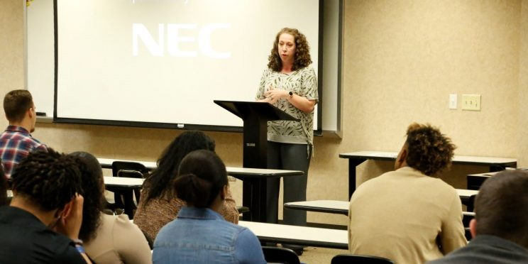 Jessica Smith speaks to students during the 2020 Marketplace Faith Friday Forums.