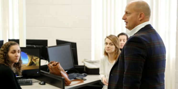 Blake Cook speaks to a Faulkner students during the 2020 Marketplace Faith Friday Forums.
