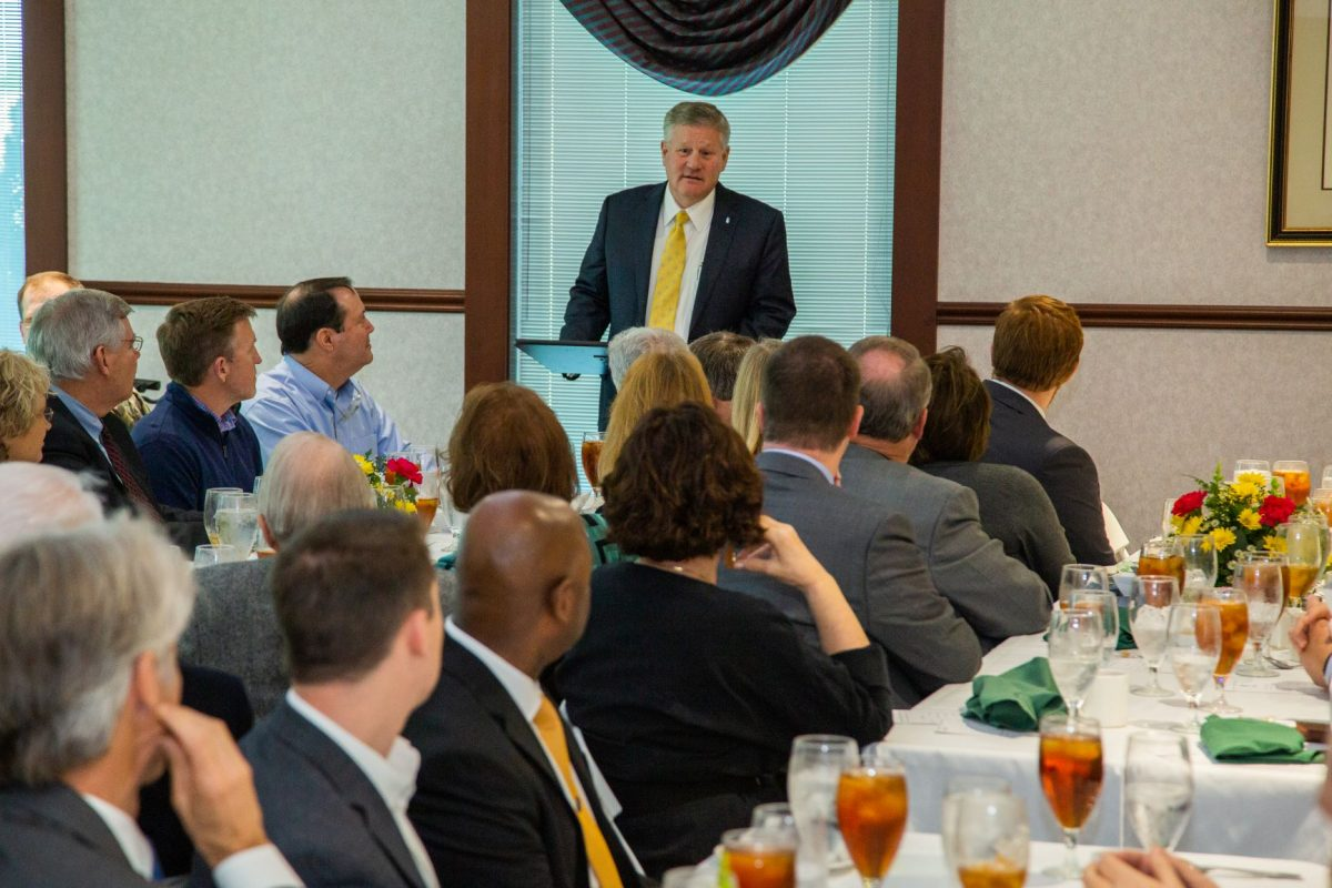 President Mike Williams speaks to the President's Circle during a luncheon on Feb. 27, 2020.