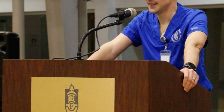 PA student Jordan Bennett, speaks at the President's Circle luncheon on Feb. 18, 2021.