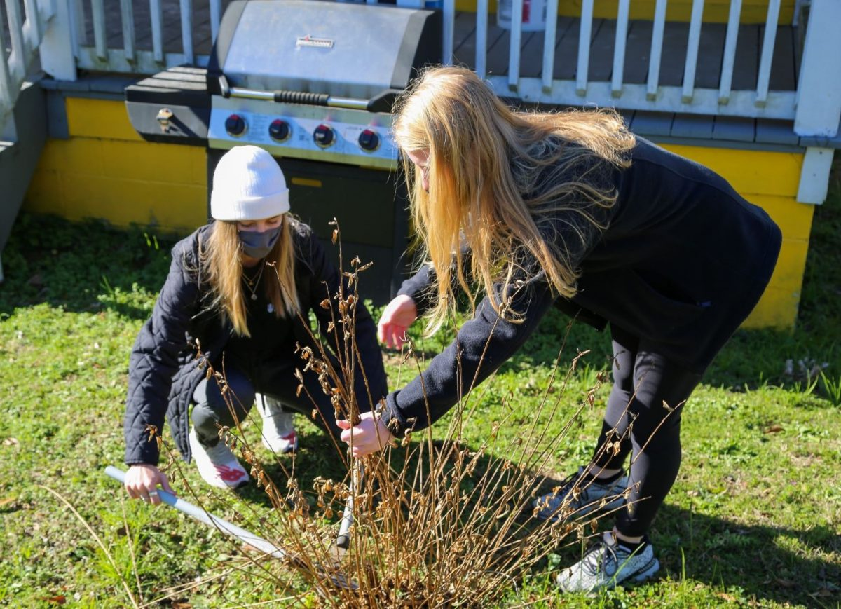 Two female Faulkner students help landscape at one of Mercy House's neighborhood homes on MLK Day, January 18, 2021.