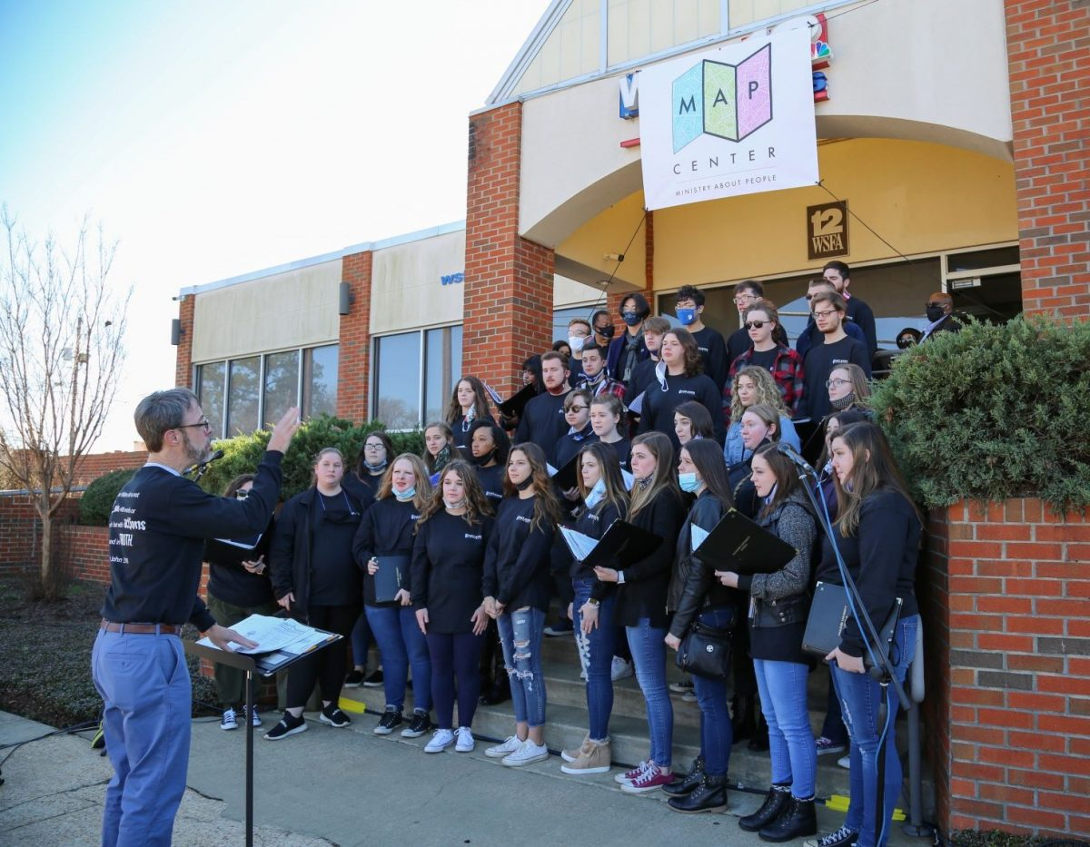 The Faulkner University Chorus sings at a special ribbon-cutting ceremony at Mercy House's newest location on East Delano Avenue, the former WSFA-TV building on MLK Day, January 18, 2021.