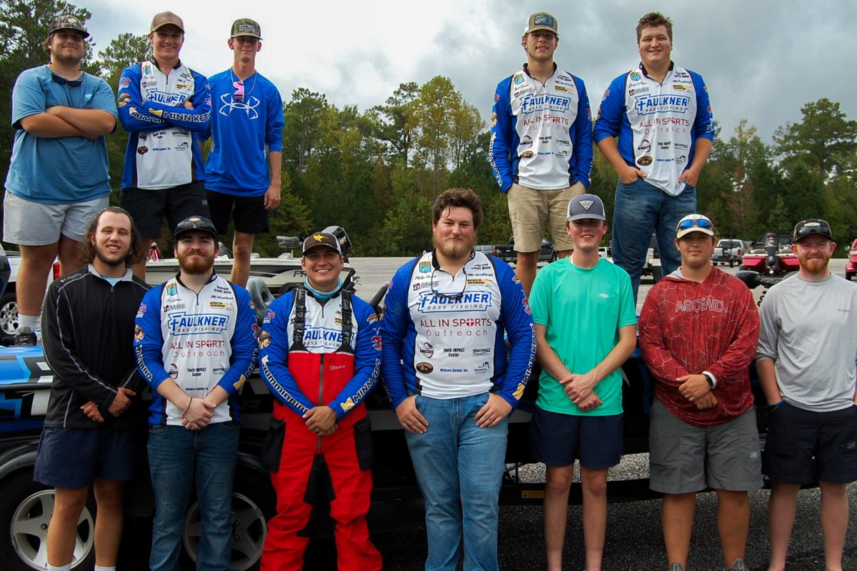 Faulkner Bass Fishing team. Back row l-r: Hudson Tinnell, Tyler Smith, Cade Wood, Will Cannon, Jacob O'Brien. Front row l-r: JD Phillips, Benjamin Garcia, Christian Rines, Phillip Parrish, Garret Jurkofsky, Sam Shiver, Colby Sanford.