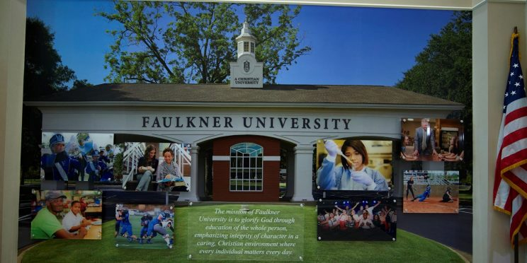 A mural on one of the walls in the Harris College of Business depicts the Faulkner front entrance.