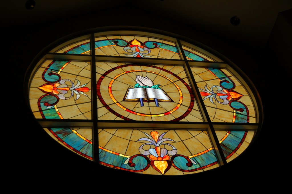Stained glass window in Lester Chapel.