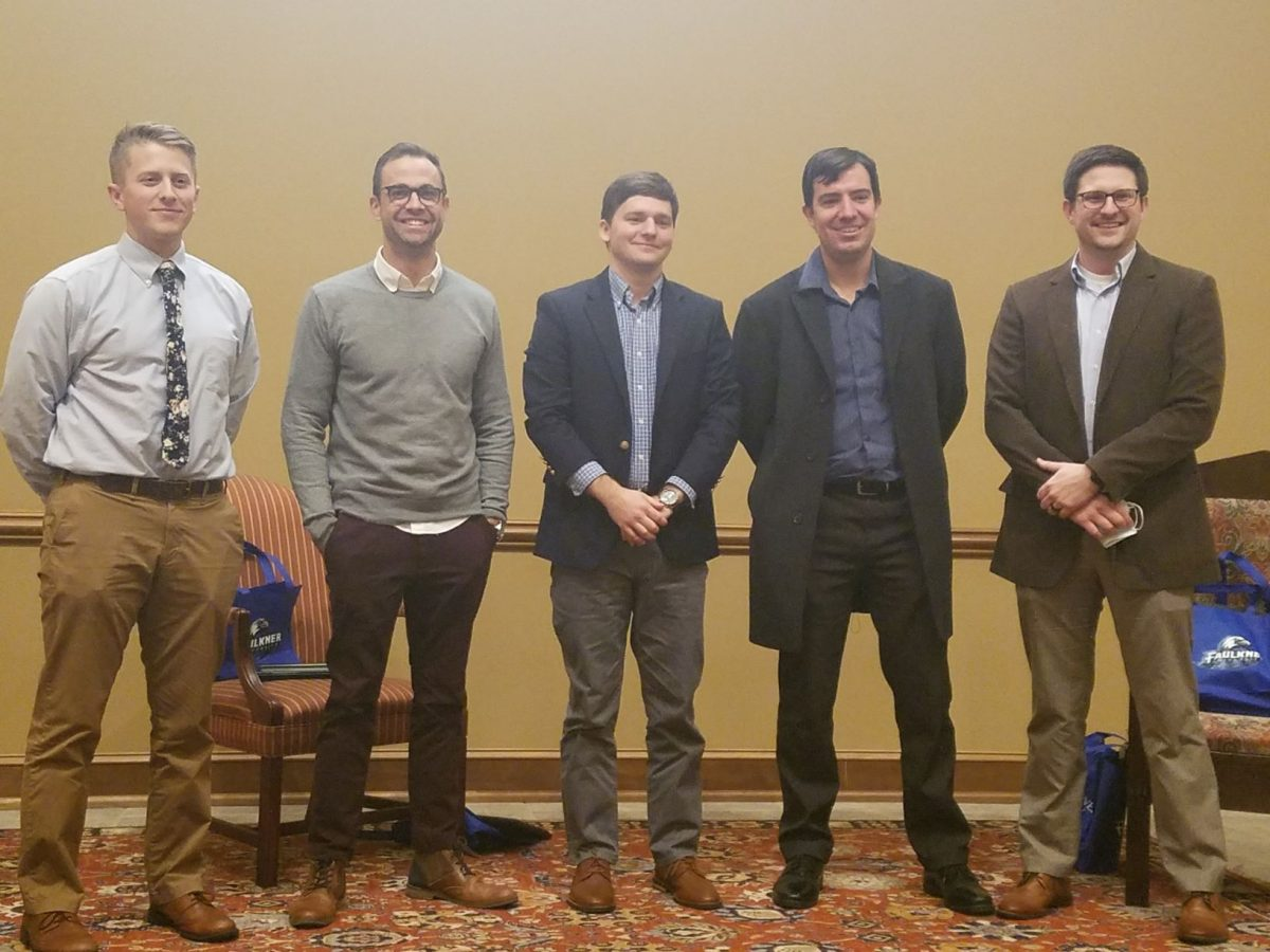 l-r- Devin Morris, Andrew Itson, Jared Kelly, Caleb Cochran and Andrew Kingsley speak at the Marketplace Faith Friday Forums. Jared Kelly is a youth and family minister.