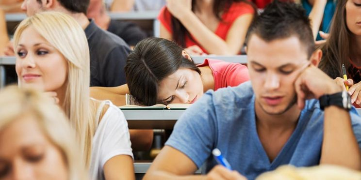 College Student Sleeping in Class