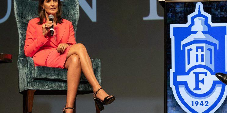 Nikki Haley speaks during Faulkner University's Annual Benefit Dinner on Oct. 3
