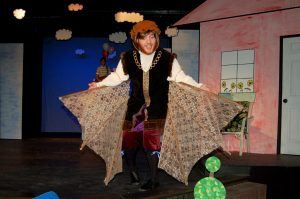 Andrew Wolford plays Leonardo da Vinci in the play, Flight of the Lawnchair Man at the Faulkner Dinner Theater.