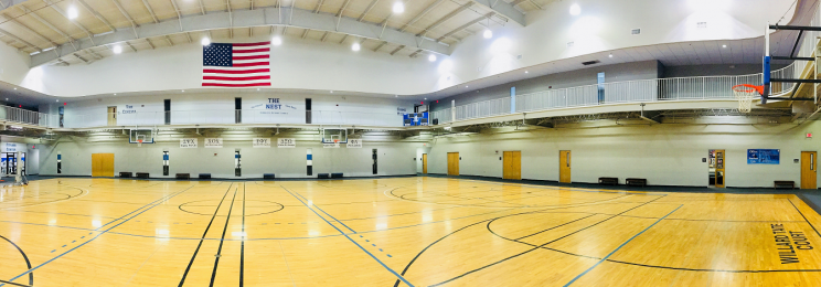Empty basketball courts at the Freeman Student Multiplex