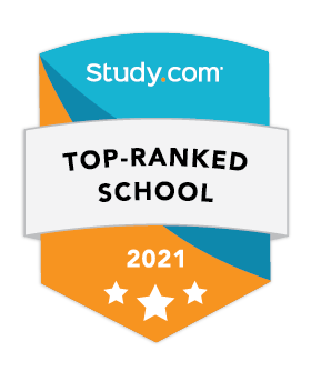 Top Ranked School 2021 Study.com badge for Legal Studies degree